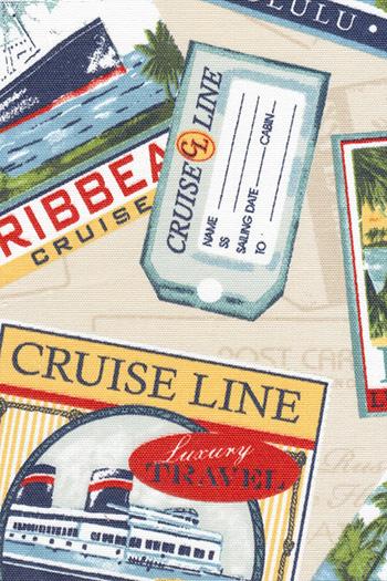 Tela crema con dibujos de etiquetas y carteles Piccola Lucía